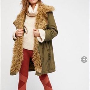 Free People extreme Moto faux fur lined coat. XS